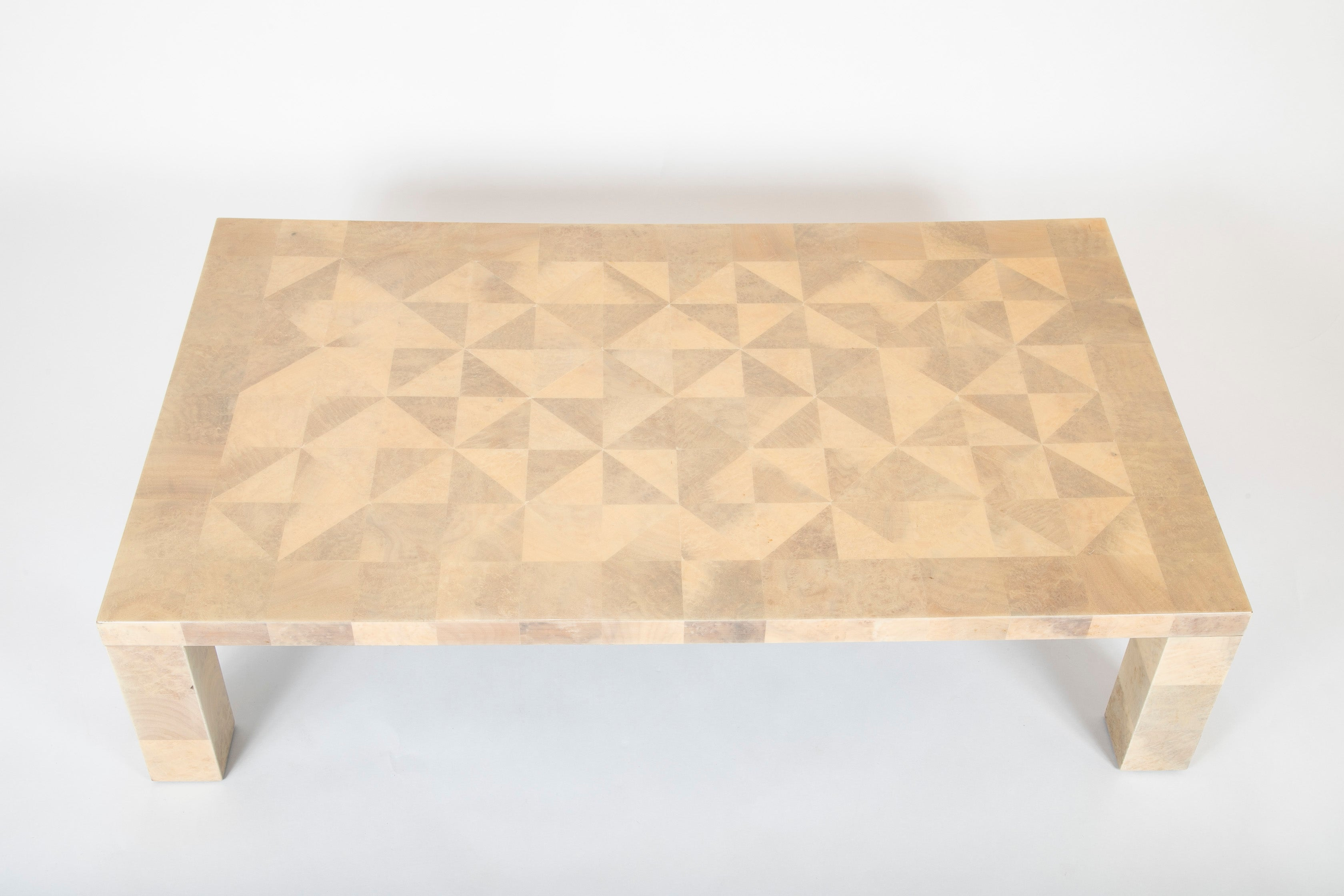 Mid-Century French Patchwork Parchment Coffee Table