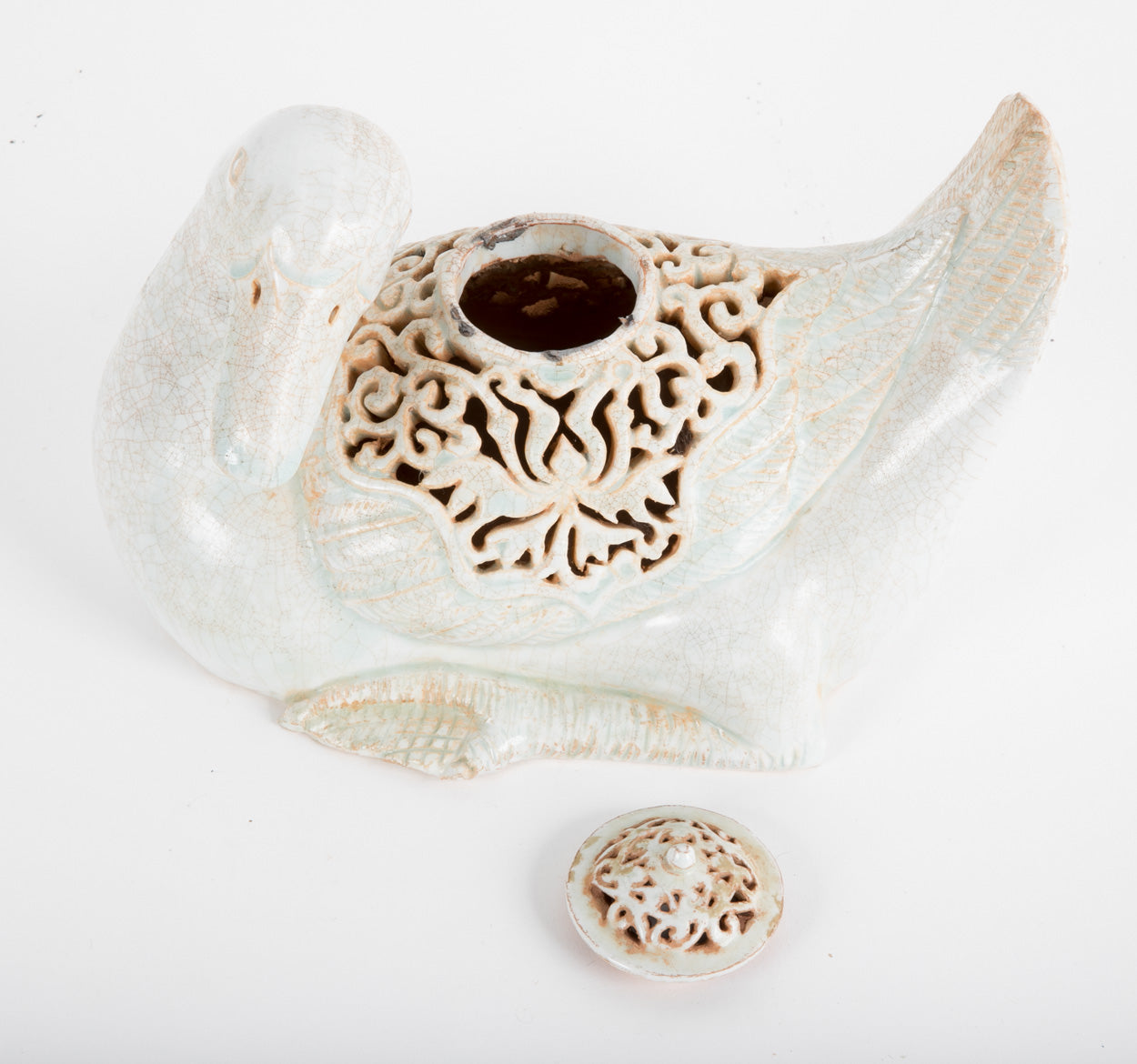 A Chinese celadon potpourri covered vessel In the Form Of A Duck