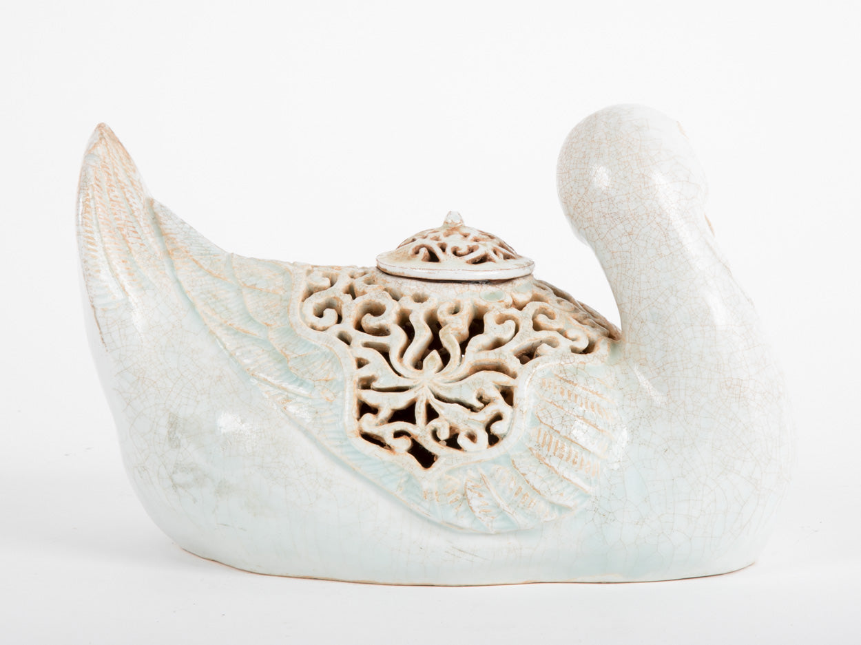 SOLD-A Chinese Celadon Potpourri Covered Vessel in the Form of a Duck