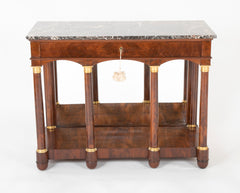 Empire French Gilt Metal Mahogany Mirror Back Table with Marble Top