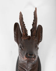 Black Forest Carved wood Stag Head with Antlers