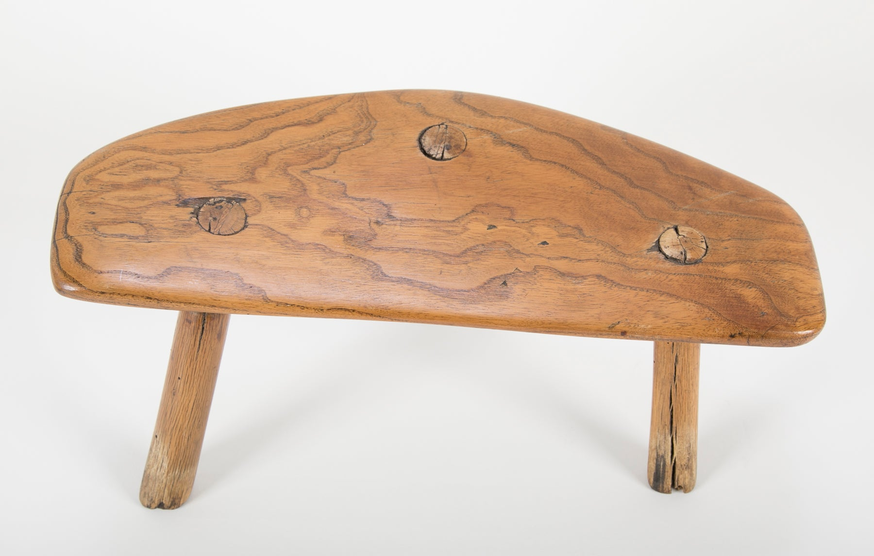 17th Century Handcrafted New England Milking Stool of Black Ash