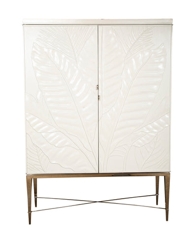 Mid-Century White Lacquered Bar Cabinet