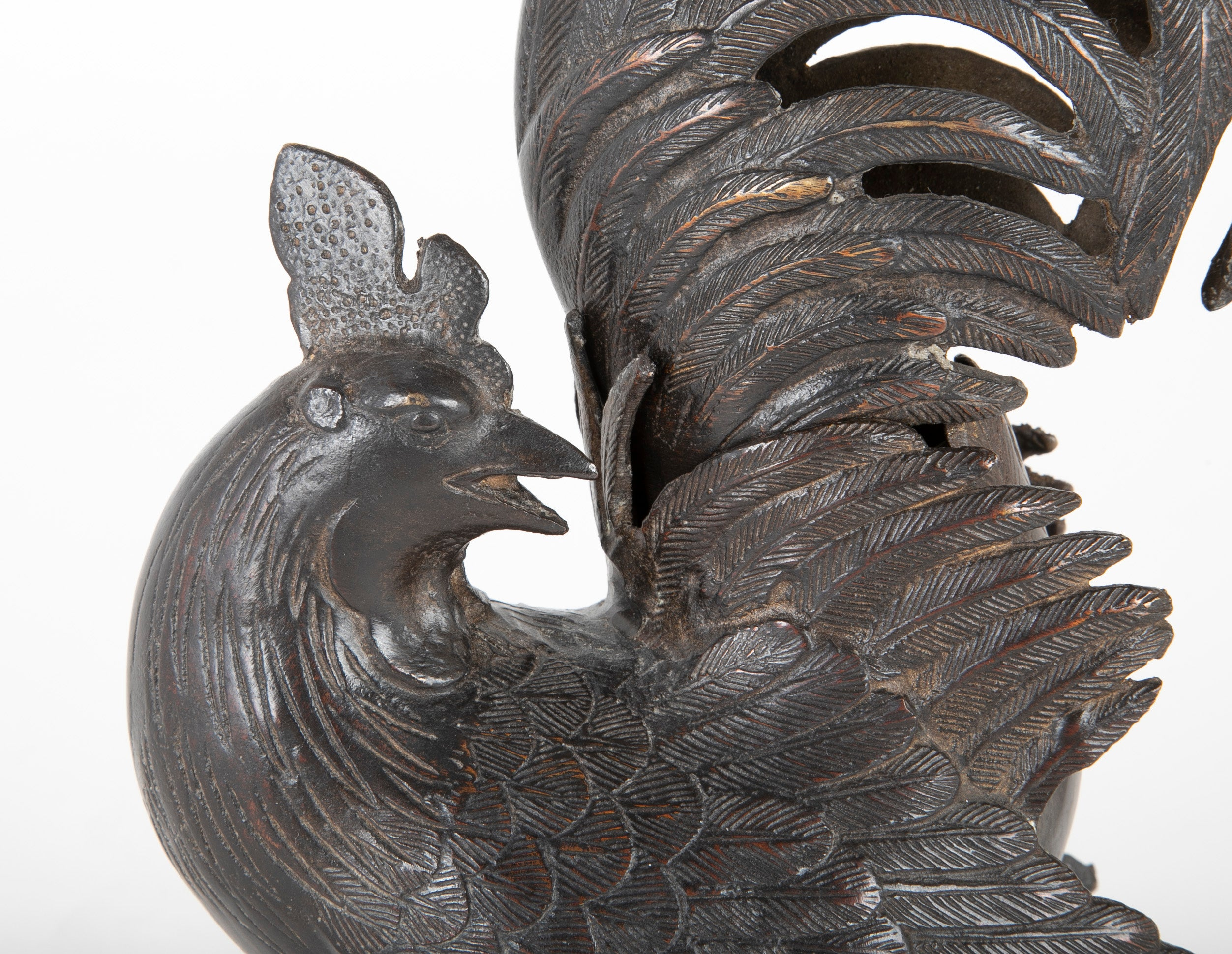 Japanese Patinated Bronze Incense Burner in the Form of a Rooster