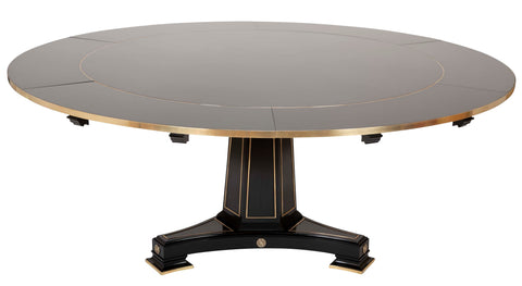 Modern Brass Mounted Empire Style Expandable Dining Table by David Linley