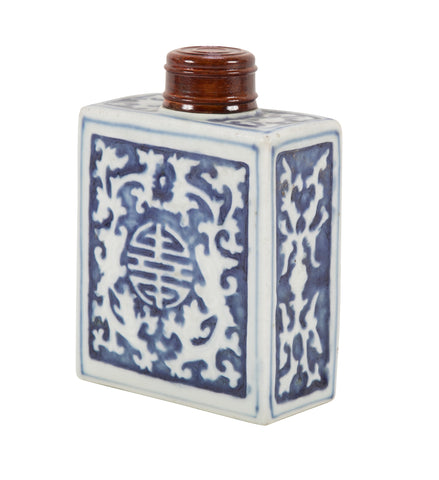 Blue and White Porcelain Tea Caddy