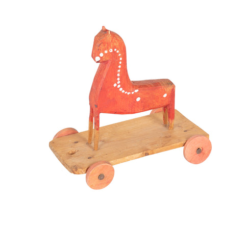 Early 20th Century Pull Toy Horse in Red & White Paint