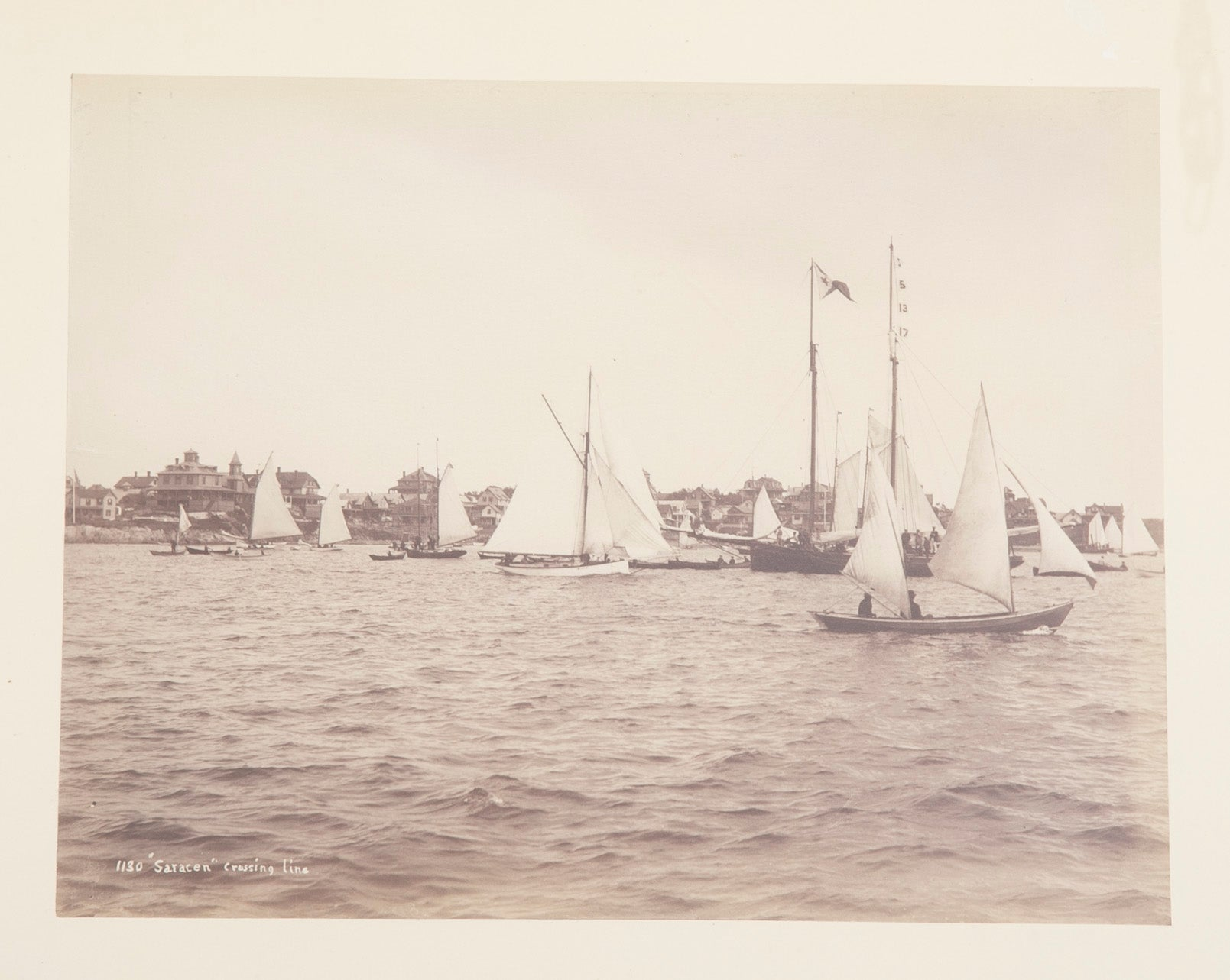 "Original Photograph by Nathaniel Stebbins of ""Saracen"" Crossing the Finish Line"