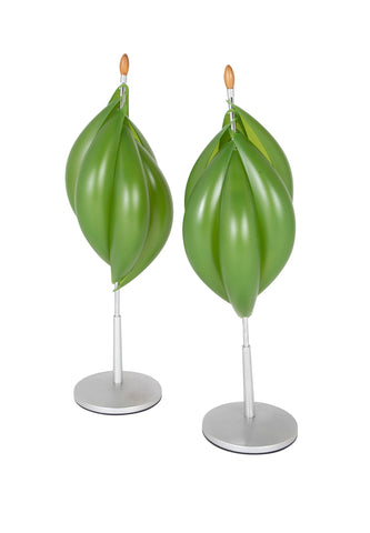 Mid-Century Aluminum Lamps with Avocado Colored Resin Shades