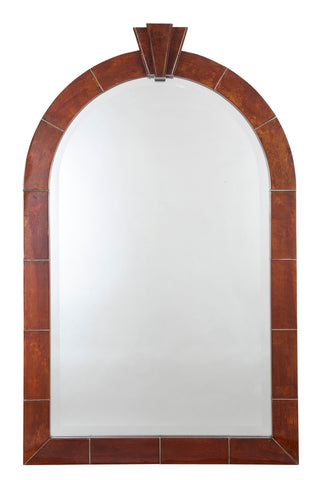A Large and Important Signed Karl Springer Mirror with Lacquered Goatskin Frame in Tortoise Color