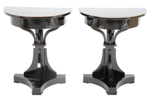 Pair of Ebonized Biedermeier Demilune Stands