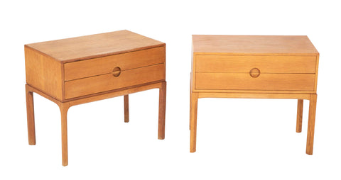 A Pair of Danish Oak Night Stands Designed by Aksel Kjersgaard