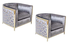 Pair of Brass Over Chrome Framed Club Chairs
