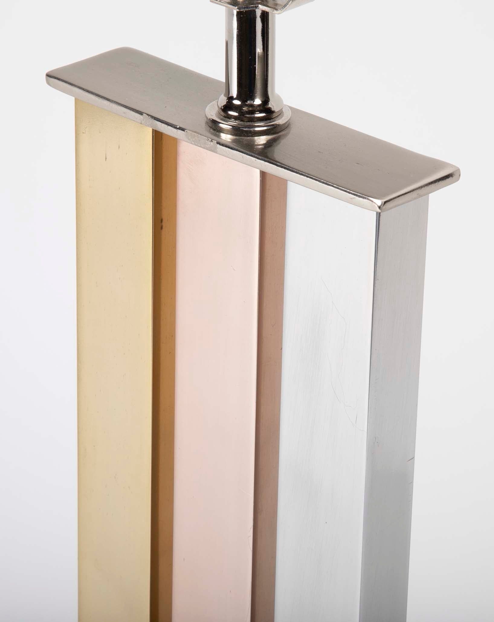 Pair of Brass, Copper & Aluminum Lamps in the Manner of Paul Evans