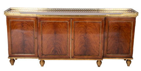 A Gilt Credenza with Greek Key Brass Gallery In The Manner of Maison Jansen