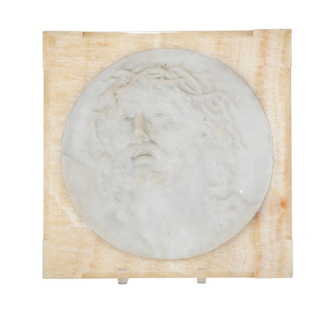 Marble Bas Relief of Jesus Christ Set in Beveled Onyx Frame