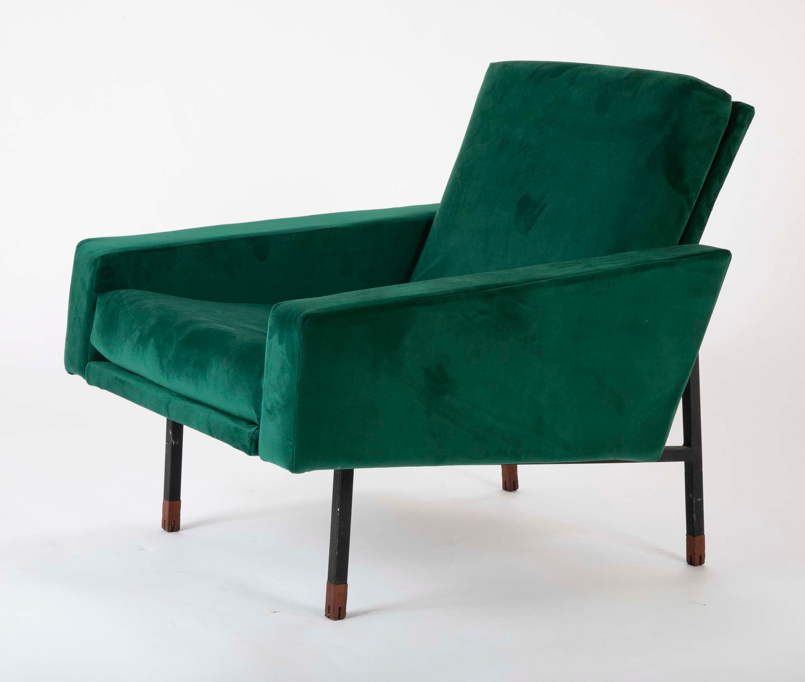 Pair of Upholstered Italian Mid-Century Armchairs with Walnut Tipped Legs