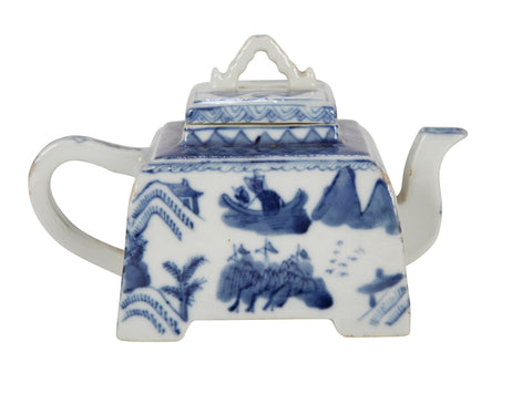 Blue and White Chinese Teapot