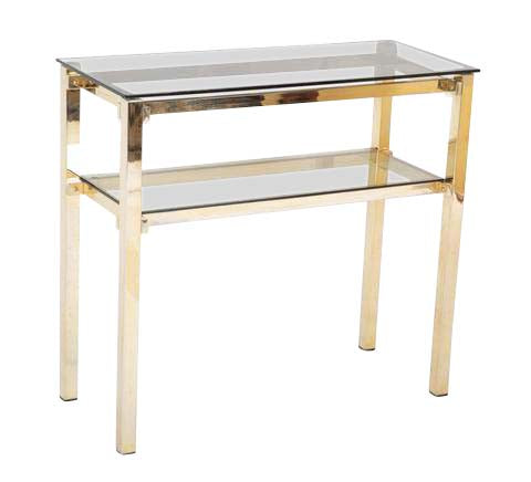 A Brass and Smoked Glass Console Designed by Romeo Rega