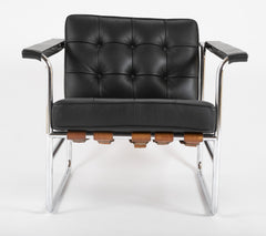 Hans Eichenberger for De Sede, HE 113 Black Leather Chair with Cognac Straps