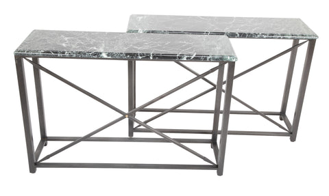 Pair of Neo-Classical Style Steel Console Tables with Marble Tops