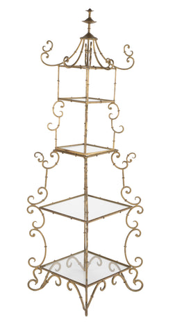 Chinoiserie Gilt Metal Etagere