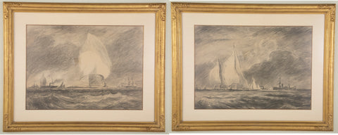 Outstanding Pair of Charcoal & Crayon Sketches by Reynolds Beal  (American. 1867 - 1951)