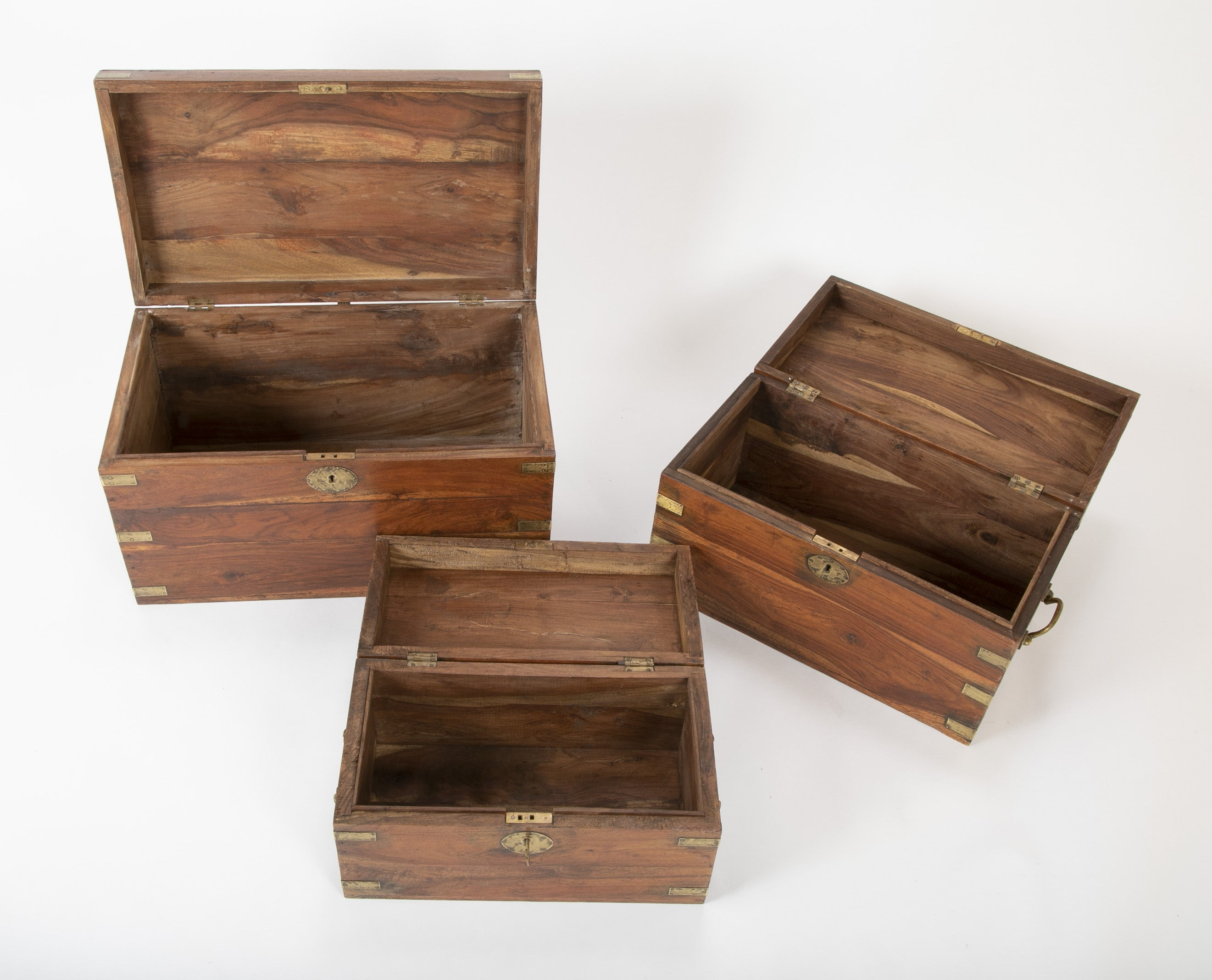 Set of Three Chinese Export Nesting Camphorwood Campaign Boxes