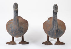 Monumental Cast Iron Canada Geese Andirons