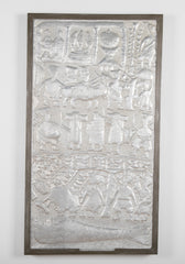 Hammered Aluminum Plaque of Nigerian Yoruba Tribal Scenes by Asiru Olatunde