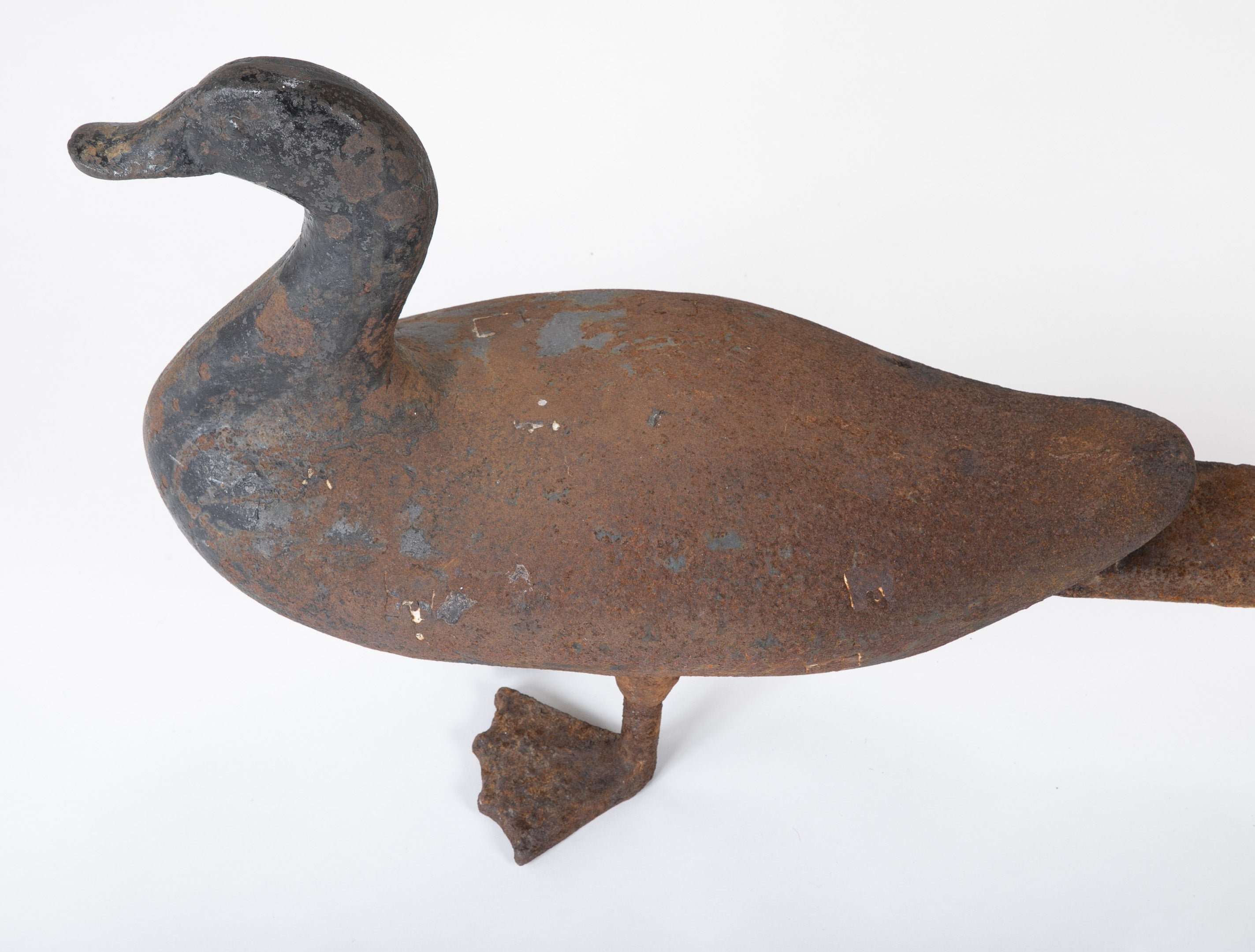 Monumental Cast Iron Duck Andirons