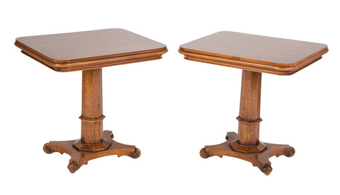 Pair of Walnut Pedestal  Side Tables