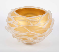 "Blown Frosted & Gilt Glaze Glass Vase by Molly Stone from her ""Tornado Series"""