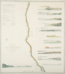 A Mid 19th Century Set of Three Charts of the West Coast