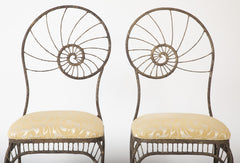 Unusual Pair of Italian Metal Chairs with Nautilus Shell Backs