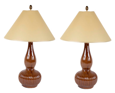 A Pair of Brown Glaze Strie Gourd Shape Lamps