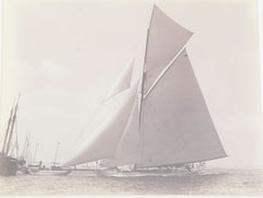 "Rare 1895 Albumen Photograph by J. S. Johnston of America's Cup Yacht ""Defender"""