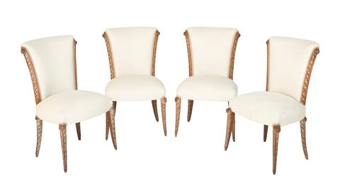 Set of Four French Maison Jansen Cerused Oak Dining Chairs