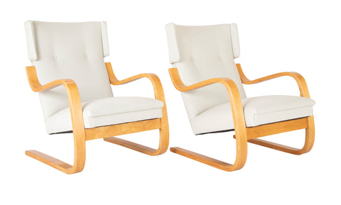 Pair of Model 401 Alvar Aalto Wing Chairs