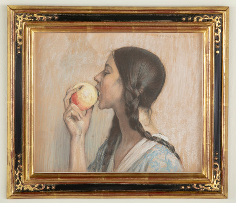 """Biting the Apple"" by French Artist Jules Marie Auguste Leroux"