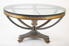 Large Glass Top Patinated Steel Center Table with Faux Bois Detail