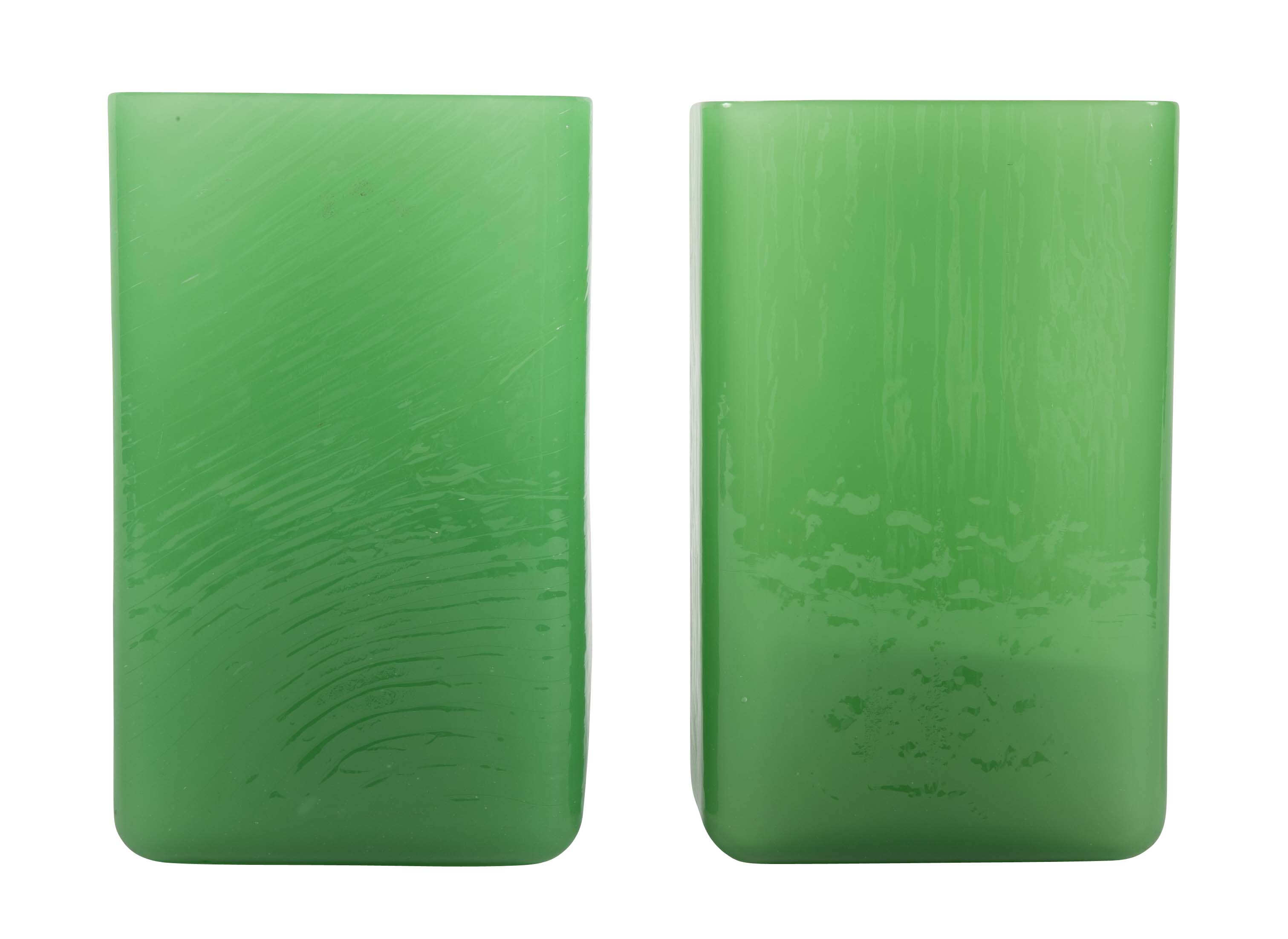 Matched Pair of Jade Glass Rectangular Vases Attributed to Steuben
