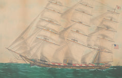 "19th Century Watercolor of the Three Masted American Ship "" Foam """