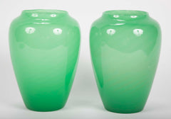 Pair of Jade Green Glass Vases by Steuben