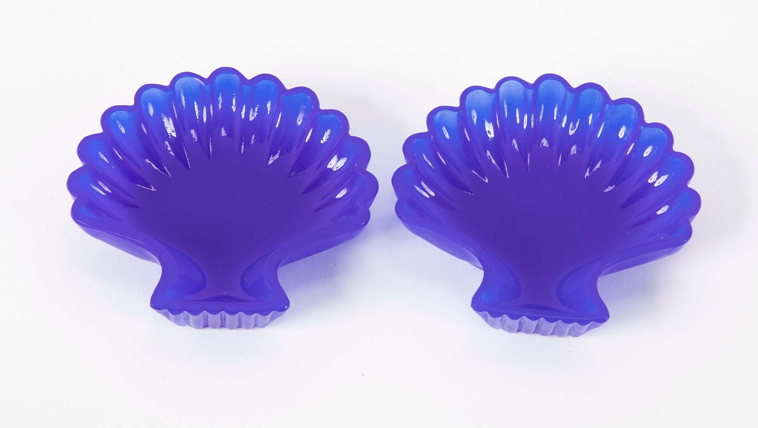 Pair of Blue Glass Shell Dishes