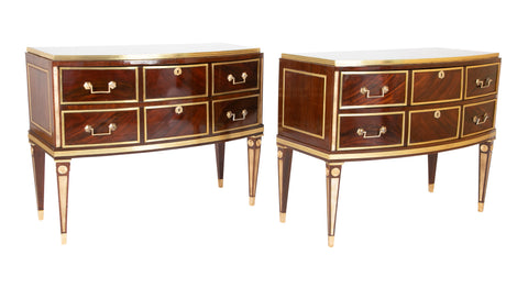 Pair of Russian Classic Mahogany Brass Enhanced Bow Front Two Drawer Commodes