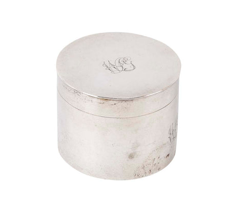A Round English Silver Box with Engraved Initials