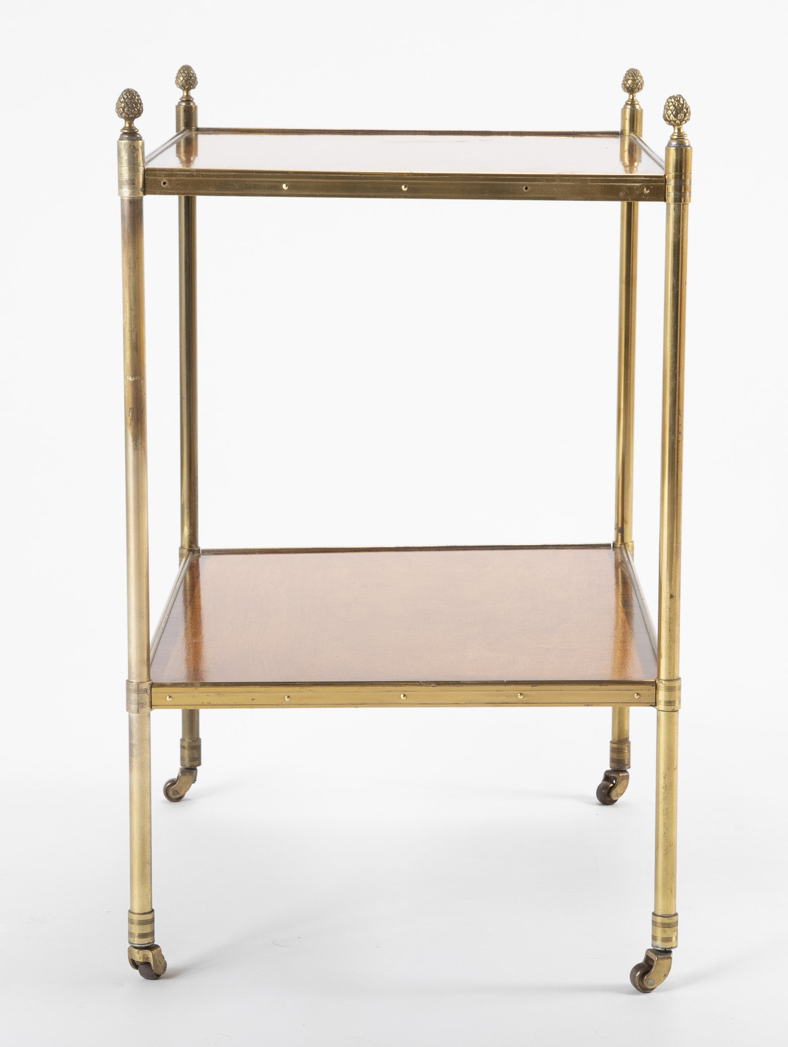 A Maison Jansen Brass Side Table with Two Mahogany and Rosewood Banded Shelves.
