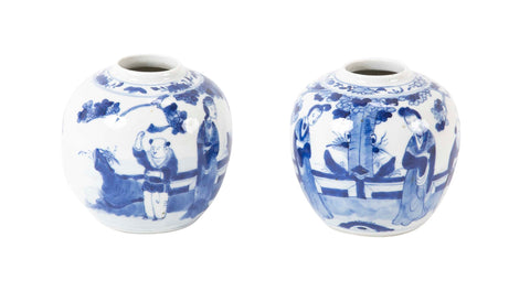 Pair of Blue and White Jars.