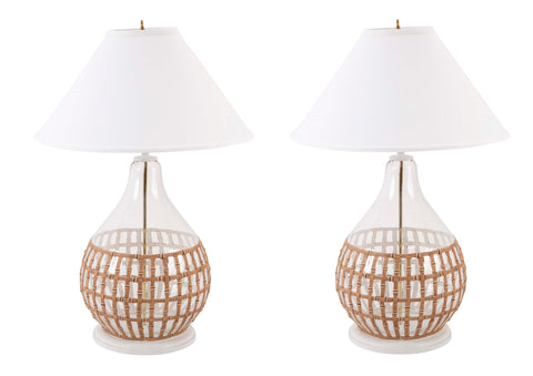 Pair of Art Deco Bronze and Crystal Table Lamps